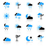 Weather icons. Set of 16 weather icons on white background Royalty Free Stock Photos