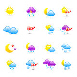 Weather icons. Set of 16 colorful weather icons Royalty Free Stock Photography