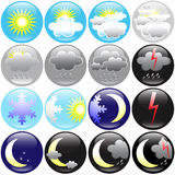 Weather icons. Wearther and seasons  icons on round shape buttons for web Royalty Free Stock Image