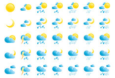 Weather Icons. On White Background Stock Images