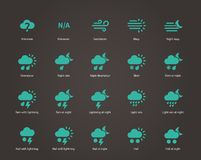 Weather icons. Additional part. Vector illustration Stock Image