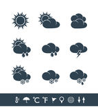 Weather icons black and white Stock Photography