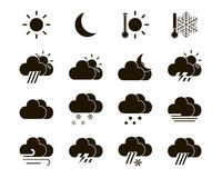 Weather icons in black and white Stock Photo