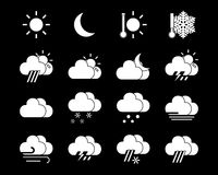 Weather icons in black and white Stock Photos