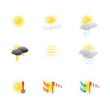Weather icons on blank Royalty Free Stock Photo