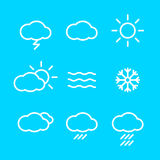 Weather Icons with blue Background   Stock Photography