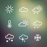 Weather Icons on blured background. Weather Vector Icons on blured background. Isoladted from background. Each icon in separately folder Royalty Free Stock Photos