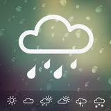Weather Icons on blurred Water drops background Royalty Free Stock Photos