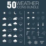 50 weather icons bundle. 50 weather white icon set on the grey background Royalty Free Illustration