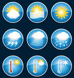 Weather icons buttons. Royalty Free Stock Image