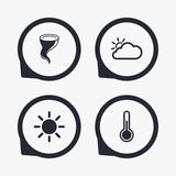 Weather icons. Cloud and sun. Storm symbol. Royalty Free Stock Images