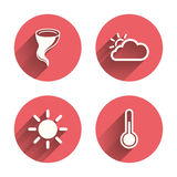 Weather icons. Cloud and sun. Storm symbol Stock Photo