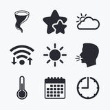Weather icons. Cloud and sun. Storm symbol. Stock Photos