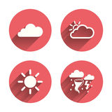 Weather icons. Cloud and sun. Storm symbol Royalty Free Stock Photos