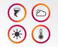 Weather icons. Cloud and sun. Storm symbol. Stock Photos
