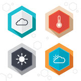 Weather icons. Cloud and sun. Temperature symbol Royalty Free Stock Images