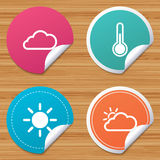 Weather icons. Cloud and sun. Temperature symbol. Stock Images