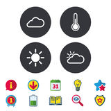Weather icons. Cloud and sun. Temperature symbol. Royalty Free Stock Photography