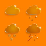 Weather icons Clouds of glass orange Royalty Free Stock Photo
