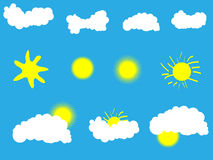 Weather icons clouds and sun. Weather icons, some clouds and some sun, vector made, very good in use in illustrations or anything else stock illustration