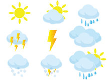 Weather icons clouds and sun. Weather icons, some clouds and some sun, vector made, very good in use in illustrations or anything else. Eps8, vector, easy stock illustration