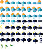 Weather icons collection. Weather icons for all seasons, day and night Stock Photos