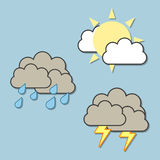 Weather Icons. Collection of 3 colorful weather forecast icons, isolated on light blue background royalty free illustration