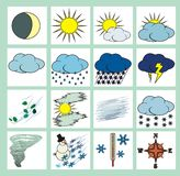 Weather icons color. Weather icons or cliparts color with black outlines on white background Stock Photo