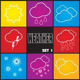 Weather icons. Weather icons on color background. Vector illustration Stock Illustration