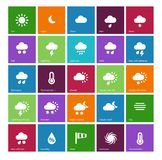 Weather icons on color background. Vector illustration Royalty Free Stock Photo