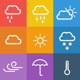 Weather icons on color background. Vector illustration Royalty Free Stock Images