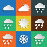 Weather icons colored background. Weather icons in paper style on colored backgrounds. Vector background or separate elements Stock Images