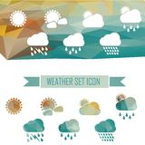 Weather icons in crystal effect Royalty Free Stock Photos