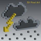 Weather icons. 3D Pixel Art. Weather icons. 3D Pixel Art for design Stock Photos