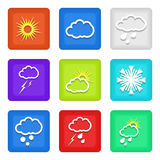 Weather icons. Icons depicting different weather conditions stock illustration