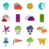 Weather icons doodle set Stock Photography