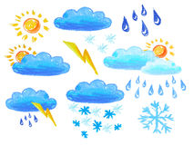 Weather icons drowing Royalty Free Stock Images
