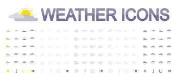 Weather icons. Flat. Weather icons set for web and mobile application. Vector illustration on a white background. Flat design style Royalty Free Stock Images