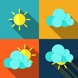 Weather icons in flat style. Set of icons with weather style flat with long shadows. Vector Stock Images