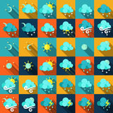Weather icons in flat style Stock Photography