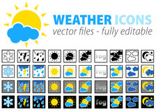 Weather icons - fully editable. Files. can be used for web pages or software for weather forcast Royalty Free Stock Image