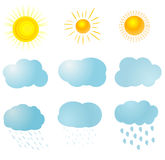 Weather icons fully editable Royalty Free Stock Photo