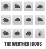 Weather icons on gray squares Stock Photo