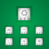 Weather icons on green background Stock Photography