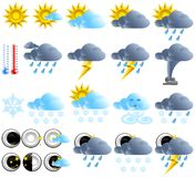Weather icons. Icon set, climate and temperature,  illustrations, web icons, icons of sun and clouds, snow and moon icons, style plastic buttons Royalty Free Stock Photo