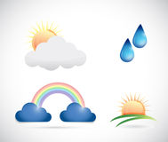 Weather icons illustration design Stock Photos