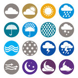 Weather icons isolated on white background vector set, simplisti Stock Photo