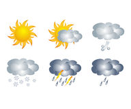 Weather icons, isolated on white Royalty Free Stock Images