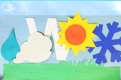 Weather icons kids school paper craft Stock Photo