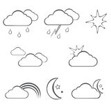 Weather icons line theme Royalty Free Stock Images